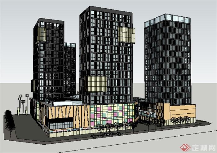 某现代商业建筑中心su模型素材,模型设计的比较认真,颜色搭配的也