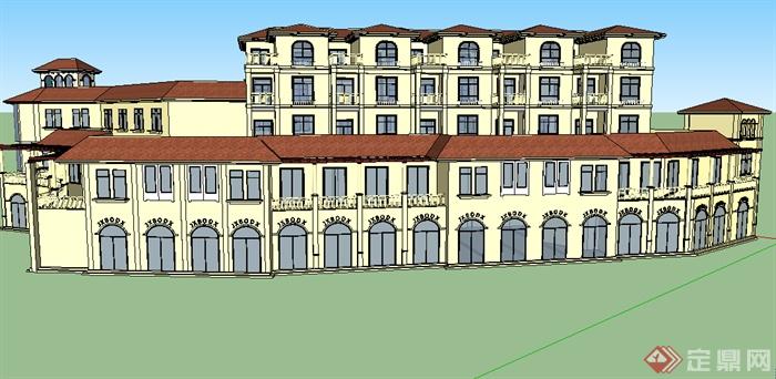 某欧式商业中心建筑SU模型素材,模型设计的比较认真,颜色搭配的也比较简洁,可以供广大建筑设计爱好者使用,也可用作同类项目参考使用。