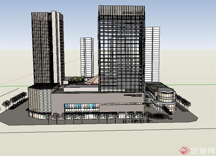 某现代商业建筑群商务中心设计su模型素材
