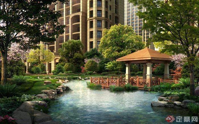 园林景观新古典住宅景观亭效果图 PSD格式