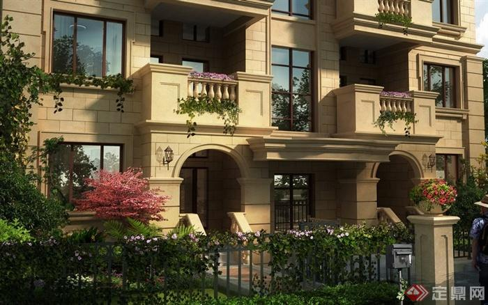园林景观新古典庭院花园入口效果图 PSD格式