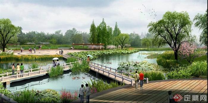 某 休闲 广场滨水 景观设计 效果图PSD格式