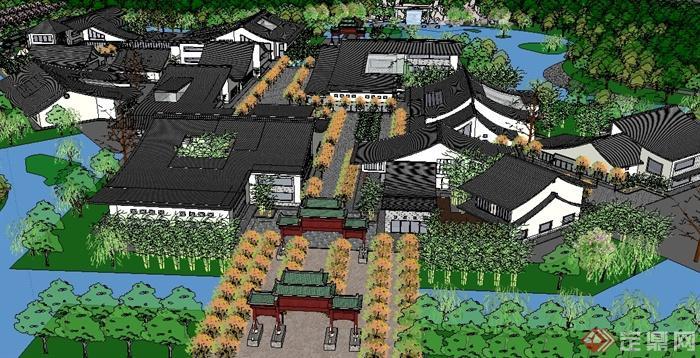 某中式居住区建筑景观规划设计su模型(4)