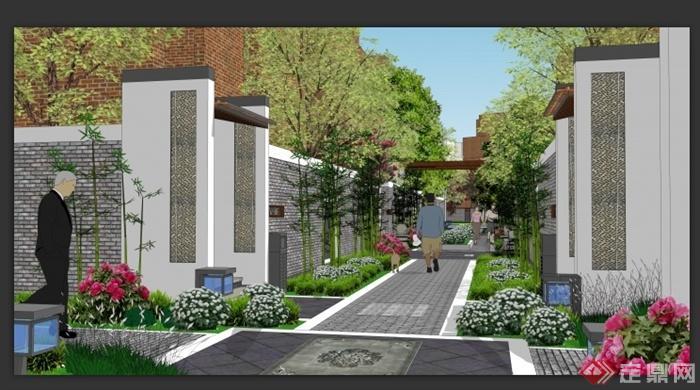 某中式小区绿地景观规划设计su模型 1