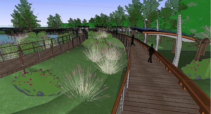 某生态湿地栈道廊架滨水景观设计su模型(含效果图)