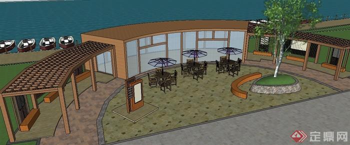 某滨水小型休闲广场建筑景观设计su模型[原创]