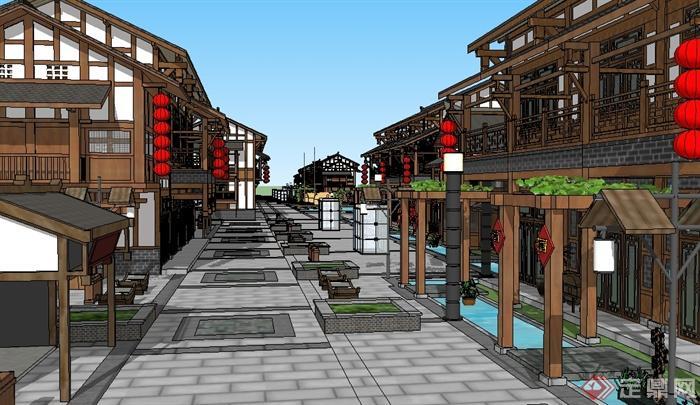 某地现代中式商业街建筑设计su模型图片
