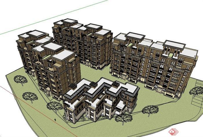 两种欧式住宅建筑设计su模型[原创]