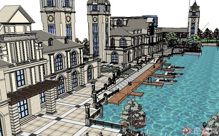 某欧式休闲度假区建筑景观设计SU模型,模型设计整体美观大方,细节处理较好,材质处理得当,设计内容也比较丰富,模型制作精细,建筑设计样式美观,是比较好的建筑景观设计,具有一定参考价值。