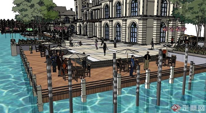 某欧式休闲度假区会所建筑景观设计su模型