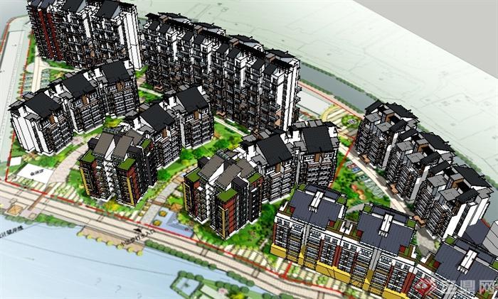 某现代住宅居住区建筑设计su模型(1)