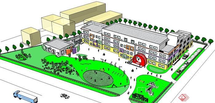 某幼儿园规划设计su模型,建筑造型设计独特,风格为现代风格,模型制作