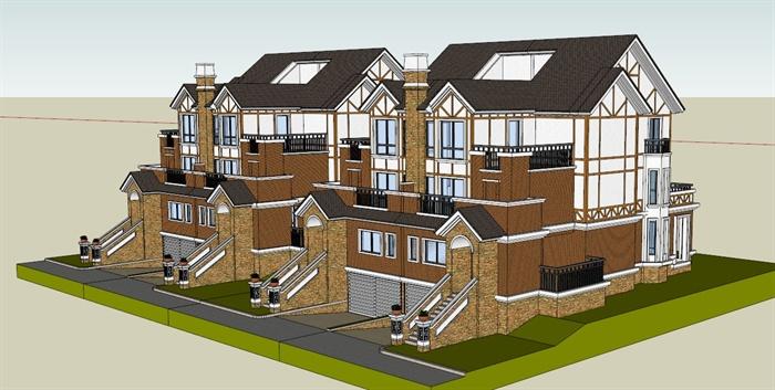 某英式风格双拼别墅建筑设计方案su模型