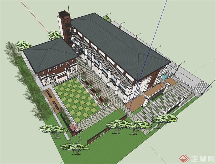 某现代中式商业建筑建筑设计su模型