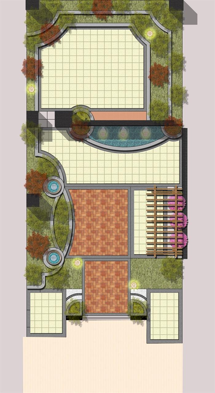 某屋顶花园景观设计彩平图,内容为较为简洁的景观小品和植配布置