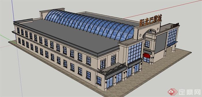 某现代带顶棚商场建筑设计方案su模型