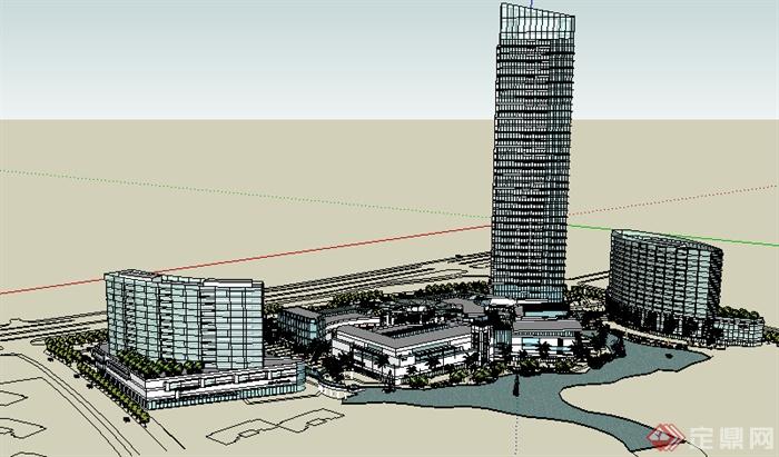 某现代商业建筑群规划设计su模型