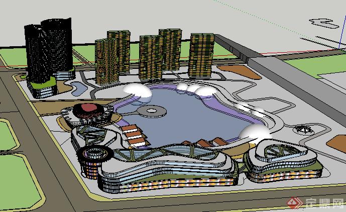 某现代商业商务建筑群设计su模型 素材