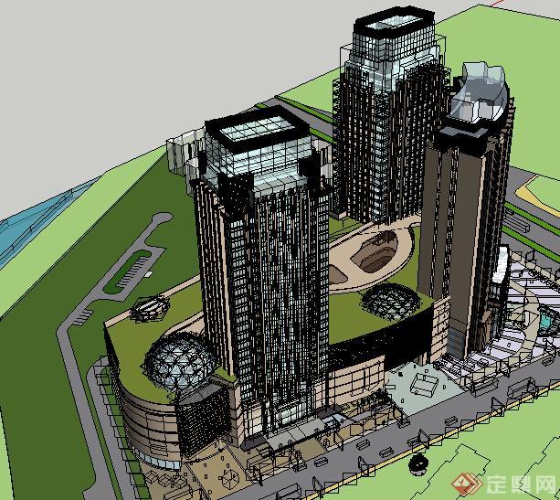 某现代风格商业建筑设计方案su模型(含天井商场)