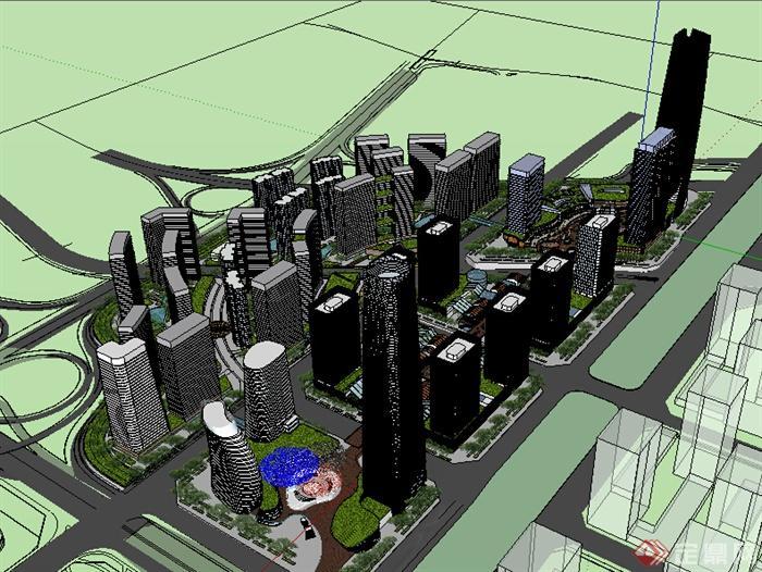 某现代风格商住建筑设计方案su模型(含新中式商业街)(1)图片