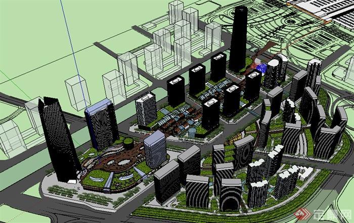 某现代风格商住建筑设计方案su模型(含新中式商业街)(2)图片