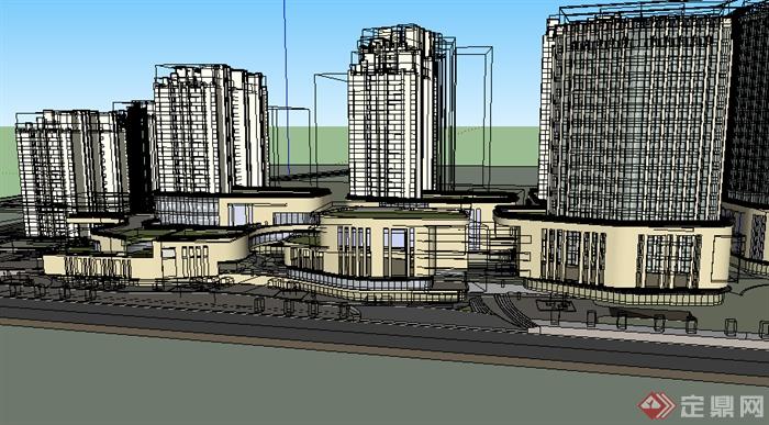 某现代商业建筑群落设计su模型素材(2)