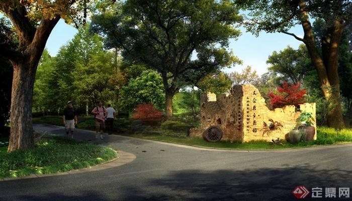 某现代居住小区景观道路效果图psd格式