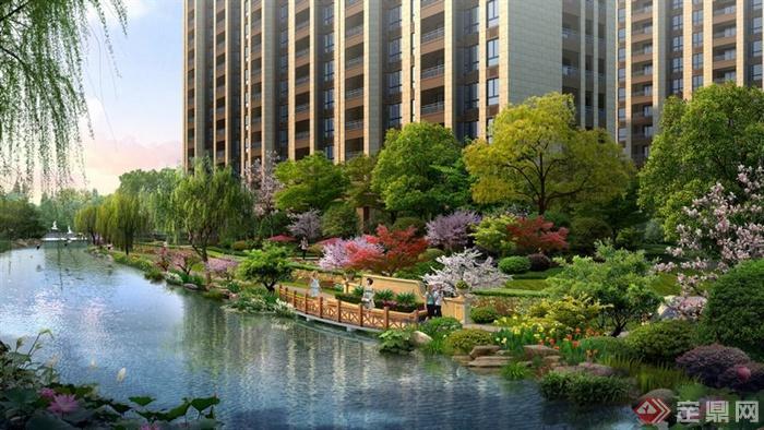 某高档住宅小区滨水绿化景观效果图PSD格式