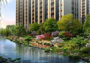 某高档住宅小区滨水绿化景观效果图PSD格式-效果图园林景观设计方