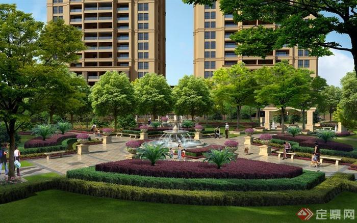 某居住区中央广场绿地景观规划设计效果图psd格式