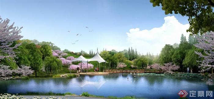 某旅游景区公园湖泊滨水景观效果图PSD格式