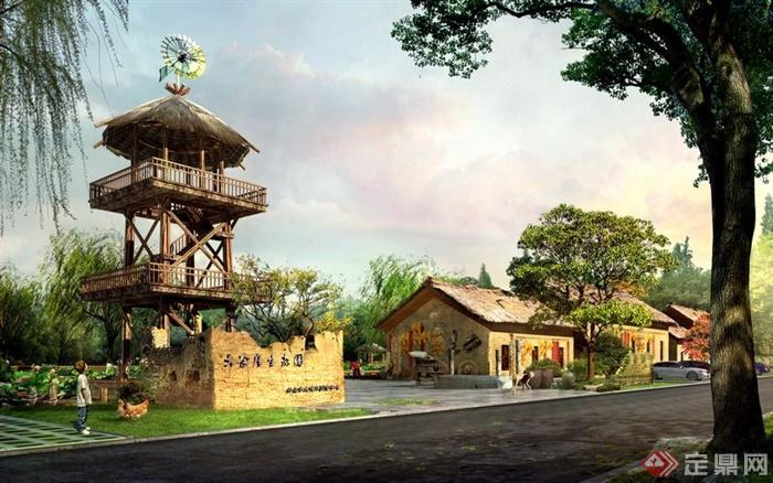 某现代中式旅游景观入口效果图psd格式