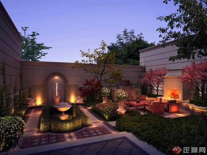 某会所别墅庭院景观设计效果图PSD格式