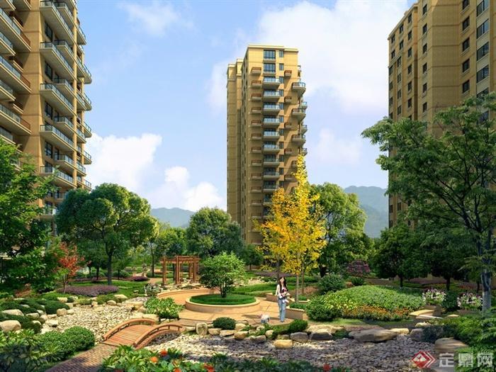 某现代居住小区中心绿地景观设计效果图psd