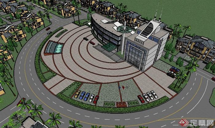 某简欧住宅建筑景观规划设计整体su模型[原创]