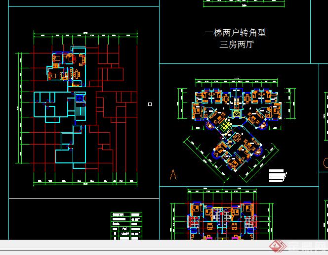 某多层小高层住宅户型平面图cad图纸 3