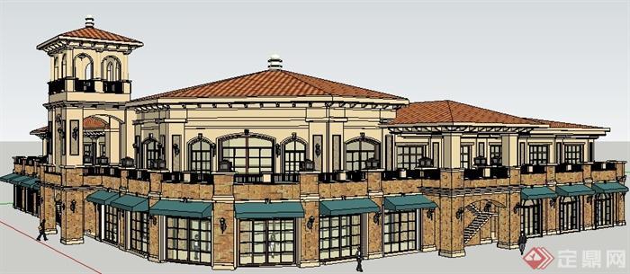 某欧式商业街店铺购物街商业建筑设计su模型图片