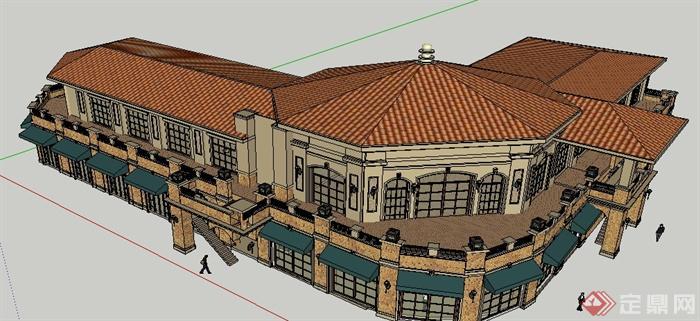 某欧式商业街店铺购物街商业建筑设计su模型