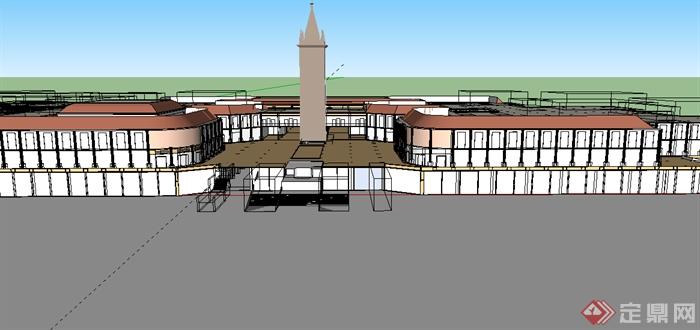 某欧式商业广场建筑设计su模型素材