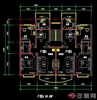 美国别墅户型图cad_多个别墅户型平面图CAD图纸