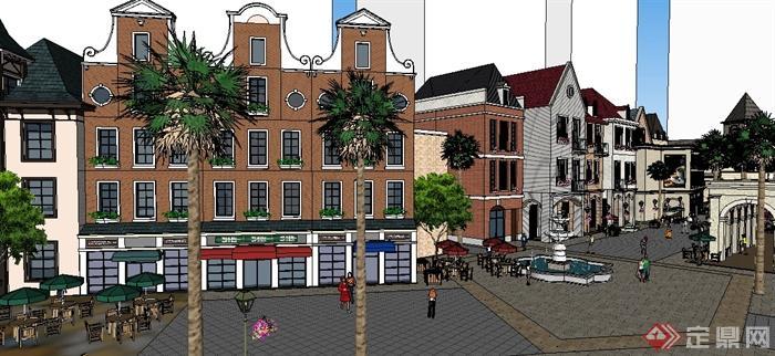 某欧式风格商业街购物街建筑设计su模型
