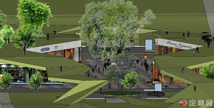 某居住区商业街建筑规划设计su模型
