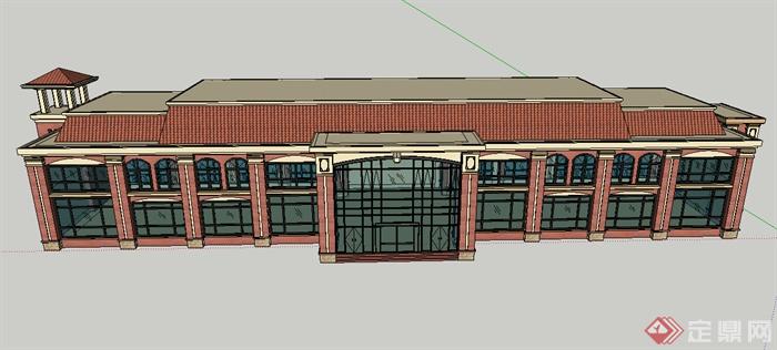 某个欧式商业建筑楼设计su模型素材