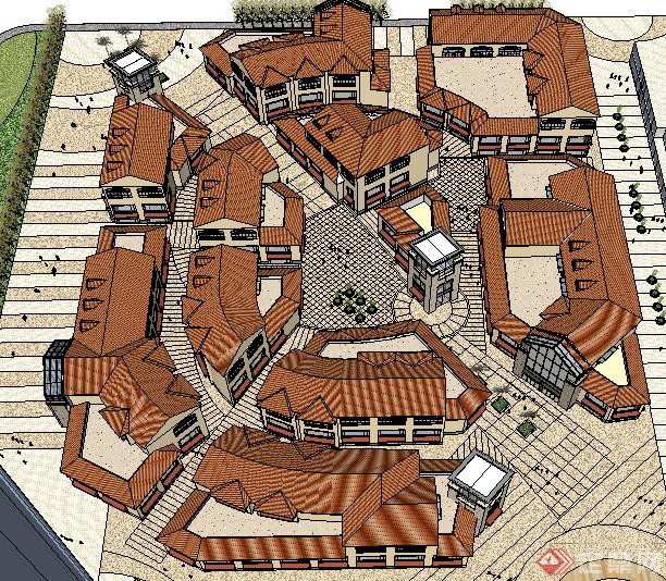 某欧式商业建筑群落设计su模型素材