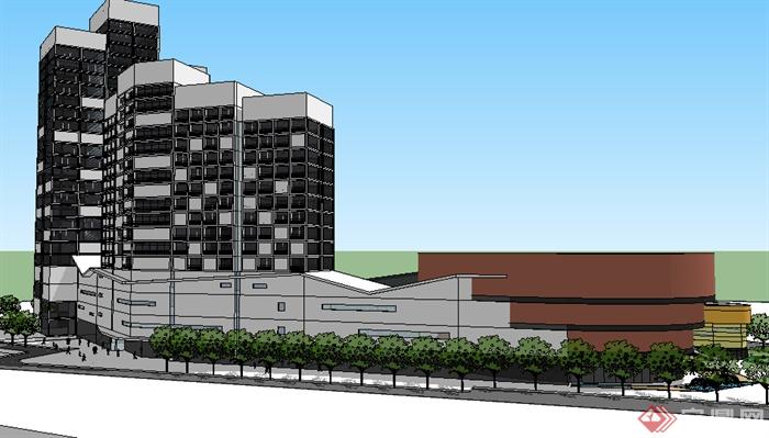 某现代商业建筑商圈设计su模型素材(4)