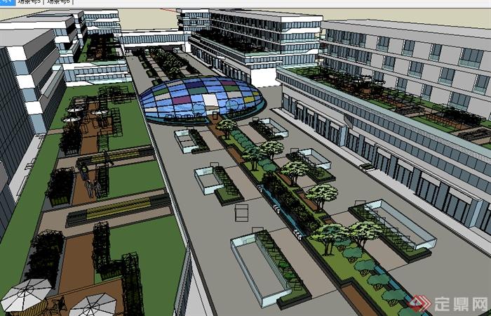 某现代商业建筑屋顶花园设计su模型素材