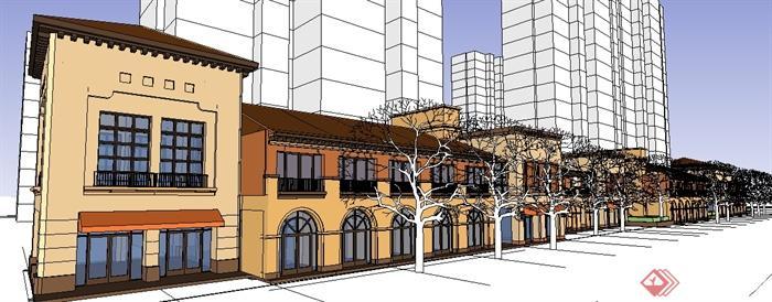 某简欧商业街店铺建筑设计su模型