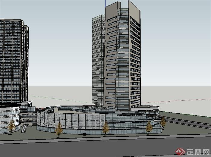 某现代商业高层建筑设计su模型素材