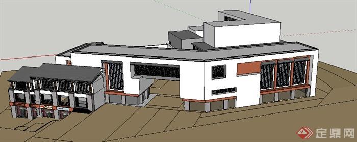某现代中式风格多层商铺建筑设计方案su模型