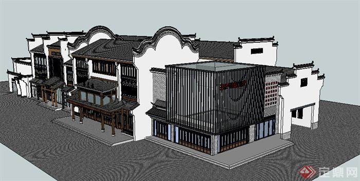 某现代中式风格多层临街商铺建筑设计方案su模型